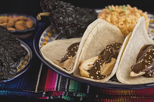 The Almond Mole served in chicken tacos