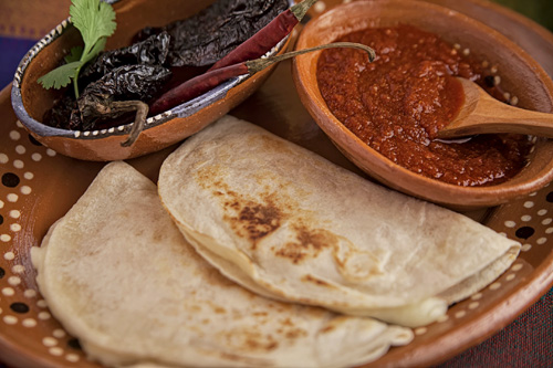 The Red Salsa with Morita Pepper served with quesadillas